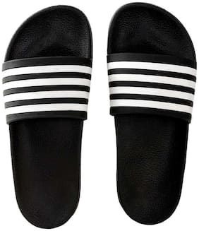 KAPANI FASHION Men Black Sliders - 1 Pair