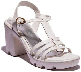 Khadim Cleo Women White Casual Heel Sandal