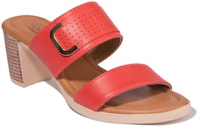 Khadim Cleo Women Red Casual Heel Sandal