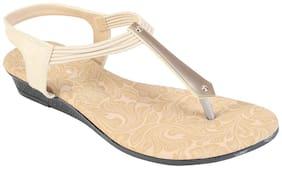 Khadim's Women Beige T-strap Flats