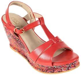 Khadim's Cleo Women Red Lifestyle Wedges