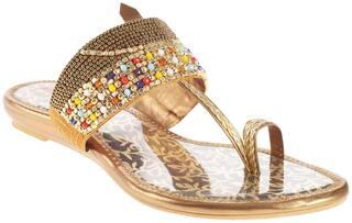 Khadim's Women Bronze T-strap Flats