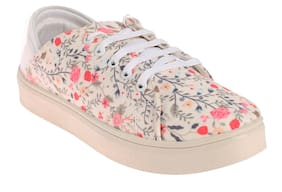 Khadim's Women Cream Sneakers