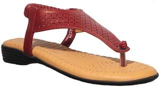 Khadim's Women Red T-Strap Flats