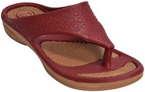 Khadim's Women Maroon Casual Flat Sandal