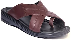 Khadims Men Brown Casual Slip-On Sandal