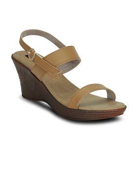 Kielz-Beige-Buckle-Wedge-Women-Sandals