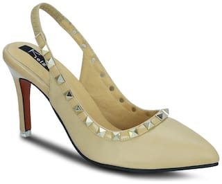 Kielz Women Beige Heeled Sandals -