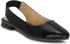Kielz-Black-Women-Flat-Back Strap-Mules