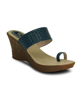 Kielz-Blue-Slip On-Wedge-Women-Sandals