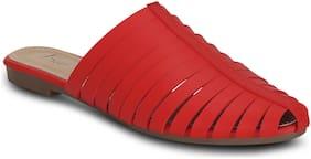 Kielz-Red-Slip On-Flat-Women-Mules