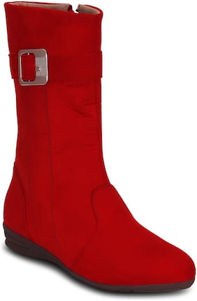 Kielz-Red-Women-Flat-Zipper-Boots