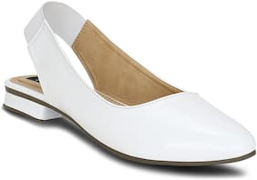 Kielz-White-Women-Flat-Back Strap-Mules