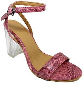 Klaur Melbourne Synthetic Pink Woven Patterned Pump Heels For Women
