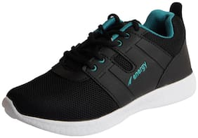 Lakhani Pace Energy Men's Black Green Mesh Sports Running Shoes