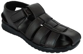 LAVISTA Men's Brown Synthetic Leather Casual Sandal