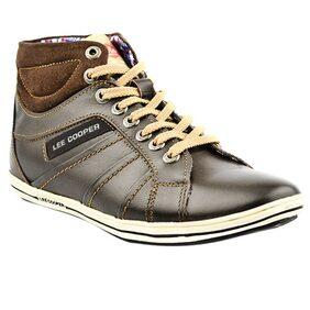 Lee Cooper Mens Brown Leather Sneakers