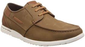 Lee Cooper Men's Khaki Leather Boat Shoes