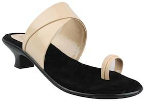 Legsway Women's Beige Synthetic Heels