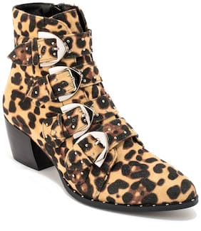 Truffle Collection Leopard Stud Detail Ankle Boot
