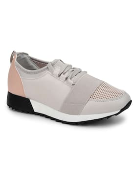 Truffle Collection Light Grey Blush Lace Mesh Lace-Up Sneakers