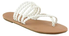 3e1a1dc27dd London Rag Women s White Braided Strap Flat Thongs