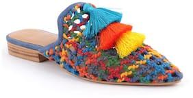 London Rag Women's Multi Color Woven Up Miriam Flat Mules