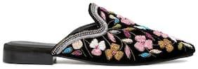 London Rag Women's Black Embroided Velvet Marcella Flat Mules