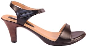 Lush Women's Heel Sandals Trendy Premium Design Party and Office Wear Girls Heels fashion Slippers (Black)