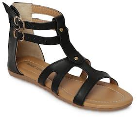 0ac3e891b78 Marc Loire Women s Black Solid Open Toe Zip Flats Gladiators Sandals