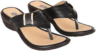 Mega Steps Women Black Heeled Sandals
