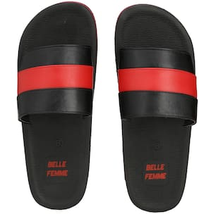 Men Black Red Slides