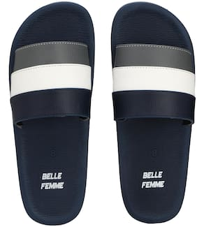 Men Blue White Slides