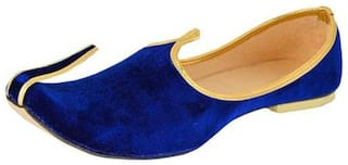 Men's Blue Colore Velvet Juttis