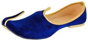 Men's Blue Colore Velvet Juttis
