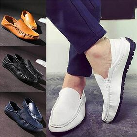 Men's Fashion Spring Autumn Faux Leather Slip-On Flat Breathable Casual Shoes