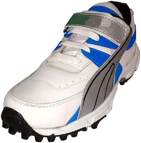 Men's White S Blue Cricket Shoes