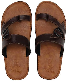Men Synthetic Leather Chappal (Tan) Slippers