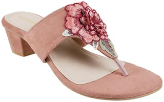 METRO Women Peach Heeled Sandals