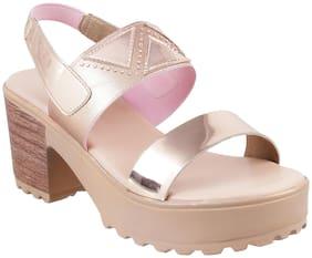 METRO Women Beige Heeled Sandals