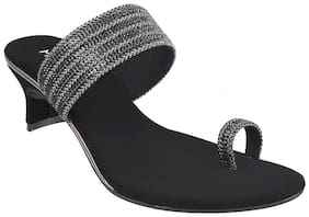 METRO Women Black Heeled Sandals -