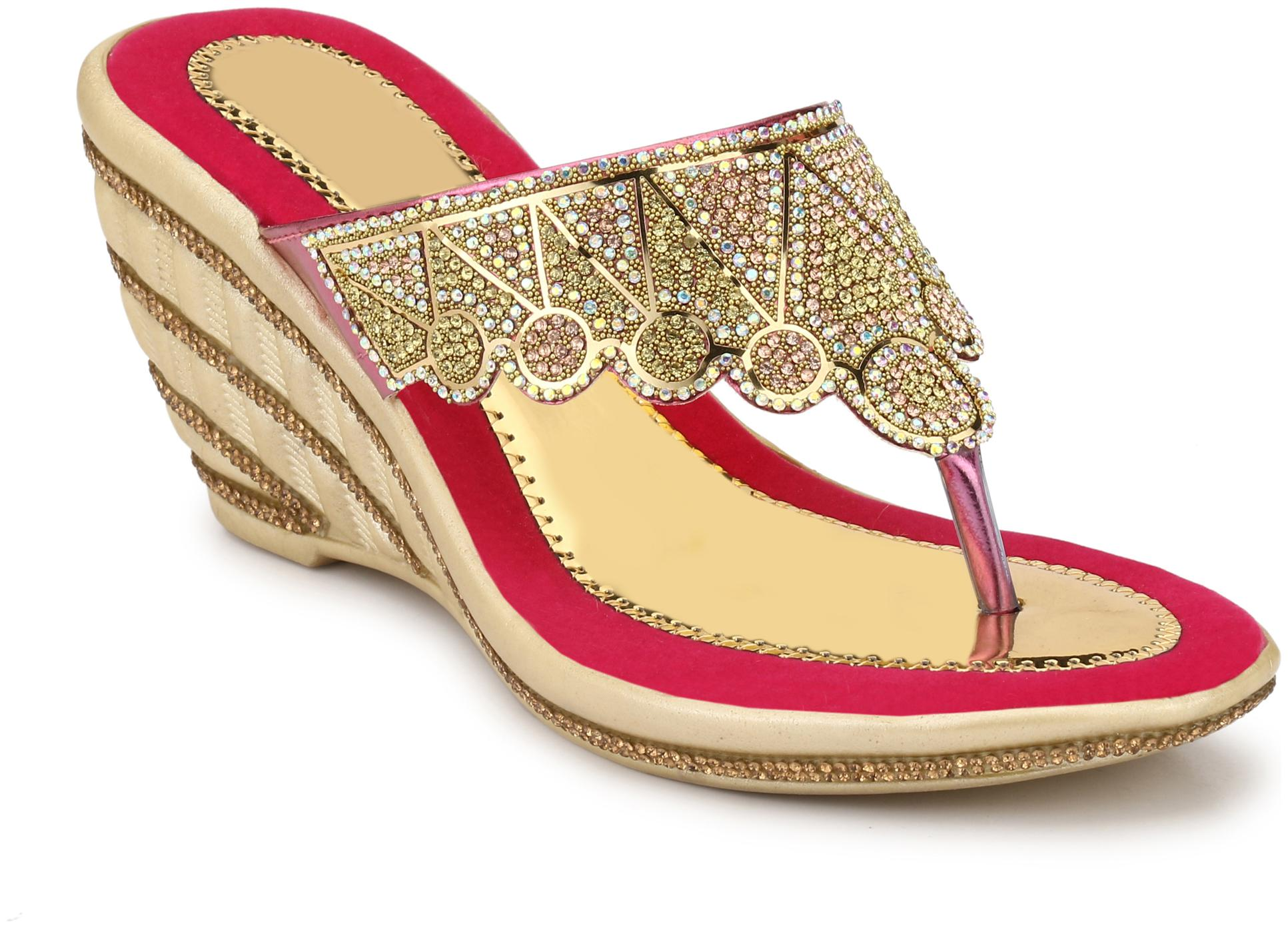 MGZ Wedges For Women   Gold   1 Pair by Himanshi Creations