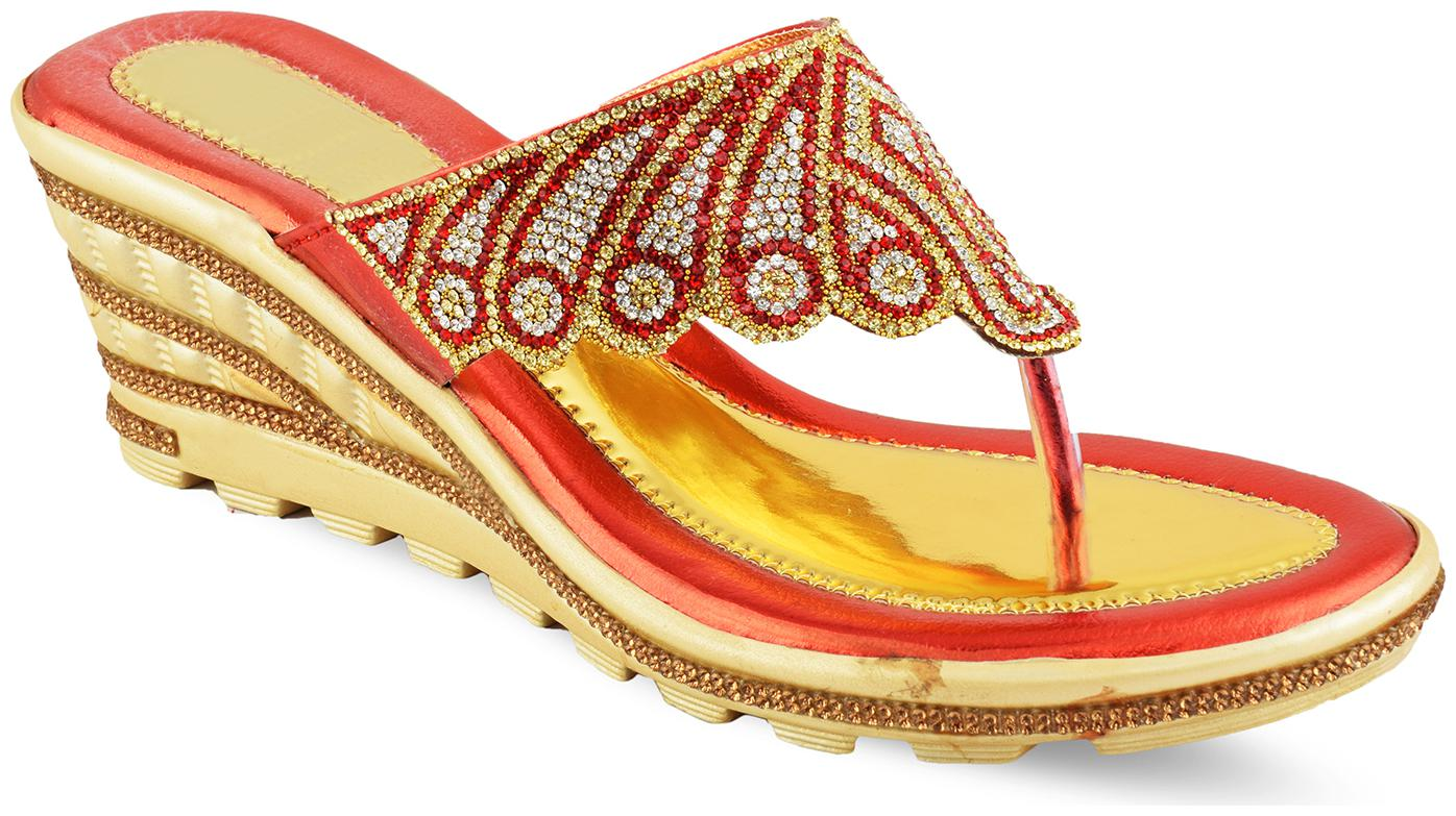 MGZ Women Red   Gold Wedges by Himanshi Creations