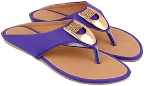MOCHDI Women Blue & Brown T-Strap Flats