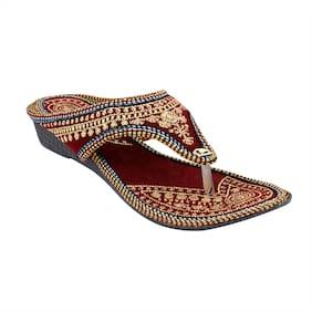 MOCHDI Women Gold T-Strap Flats