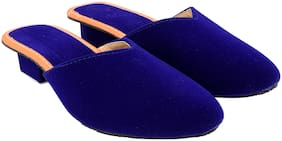 MOCHDI Women Blue & Peach Mules