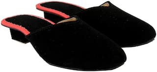 MOCHDI Women Black & Red Mules