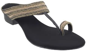 Mochi Women Black Heeled Sandals