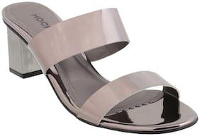 Mochi Women Grey Heeled Sandals