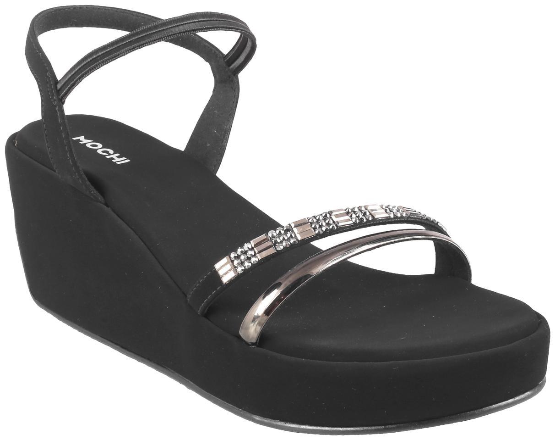 Buy Mochi Women Black Heeled Sandals